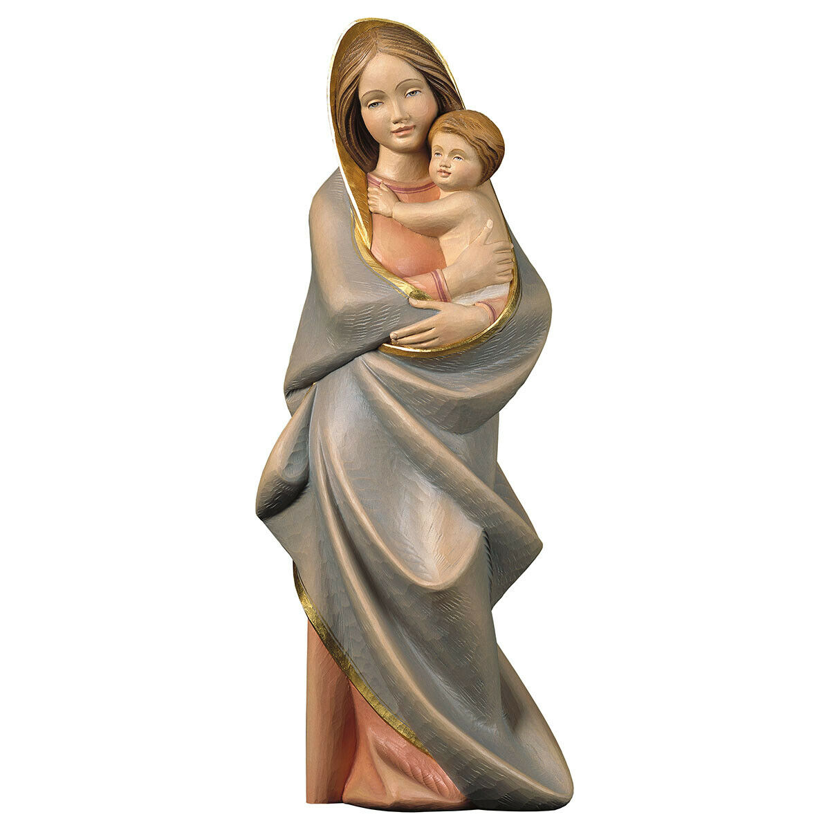 Statue Our Lady Madonna With Child Modern Wood