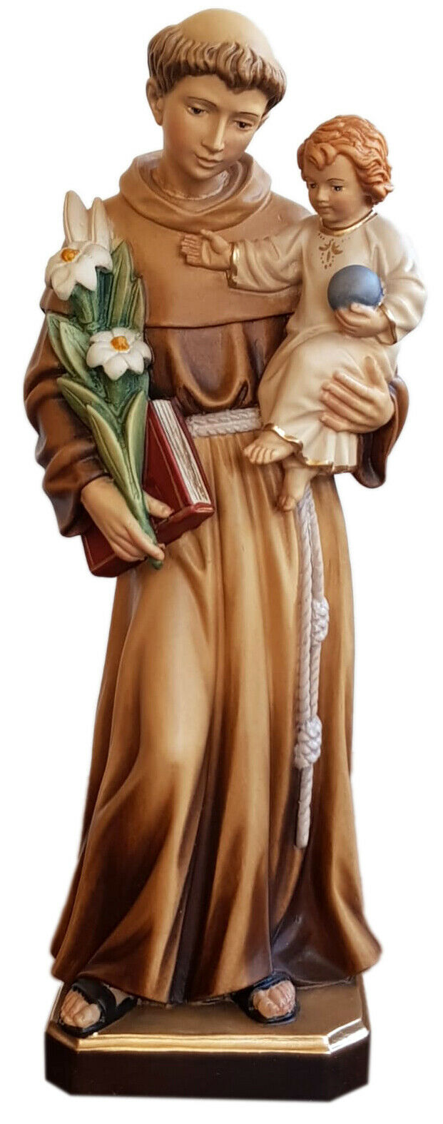 Statua Sant Antonio In Legno - Woodcarving St. Anthony Statue Cm. 36