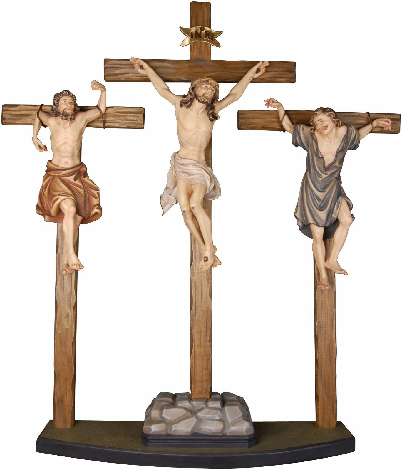 Crocifissione Crucifixion Group In Legno Scolpito