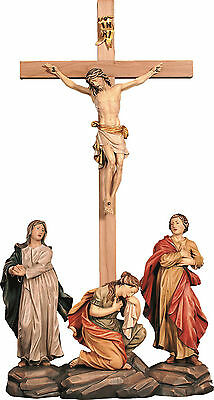 Crocifissione Crucifixion Group In Legno Scolpito Cm 152x70
