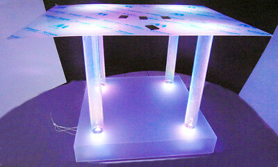 Exposante Table Plex Eclairé Transparent Cm 100x100 X H Cm 100
