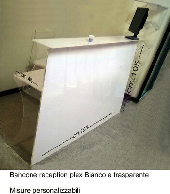 Reception Table Plex Banco Reception Personalizzabile L Cm 150x40x H105